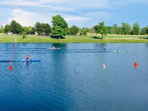 Figure 4.  The buoys in the water demarcate the rowing/swimming lanes at WIFC